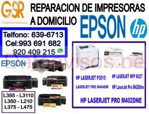 tecnicos en reparacion de impresoras (993-691-682) epson y hp a domicilio
